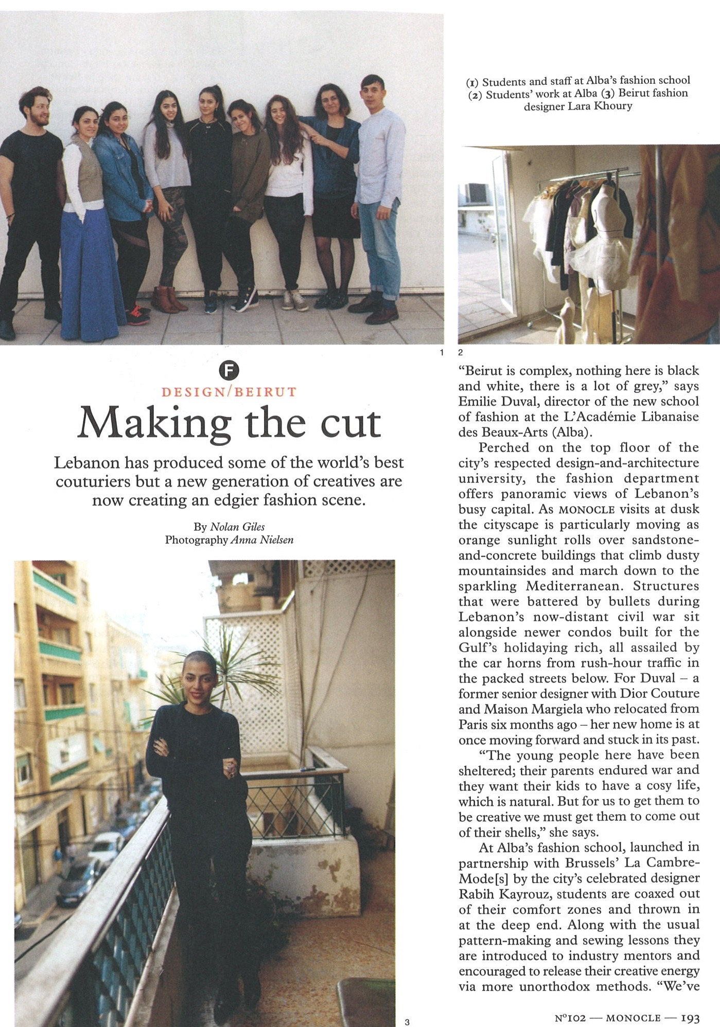 Monocle Uk Making The Cut Media School Of Fashion Design Schools And Programs Lebanese Academy Of Fine Arts Alba Balamand University